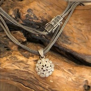 Sterling silver antique look pendant necklace
